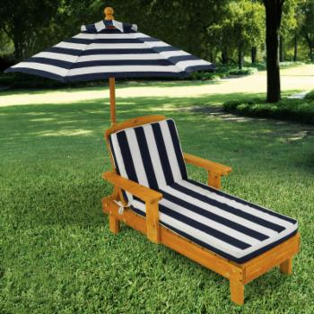 KidKraft Outdoor Chaise with Umbrella and Navy Stripe Fabric - 105