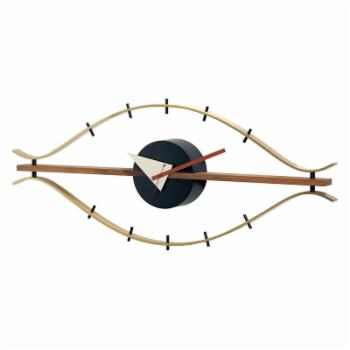 George Nelson Classic Brass Eye Wall Clock With Wood Trim by Kirch - 30 in.es Wide - Control Brand MCM