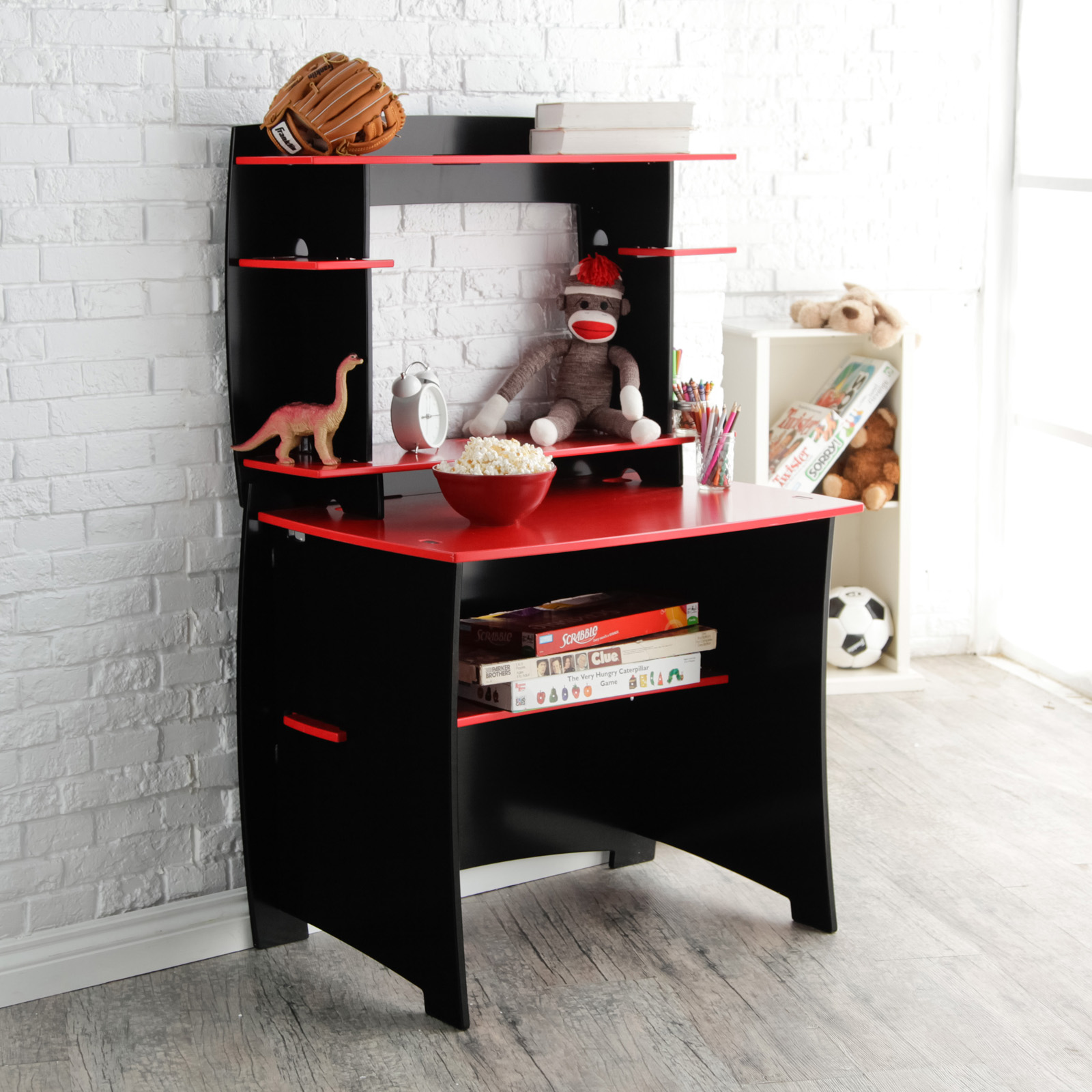 Desk With Hutch Red And Black Hayneedle