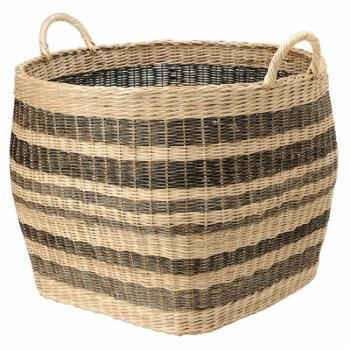 KOUBOO Large Striped Handwoven Wicker Storage Basket