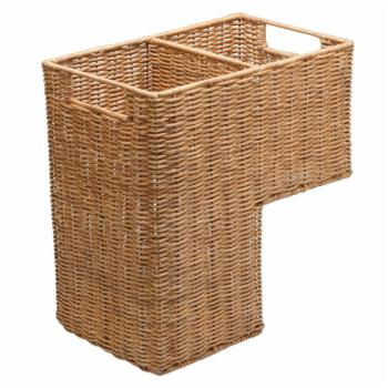 KOUBOO Handwoven Wicker Stair Step Basket with 2 Compartments and Handles