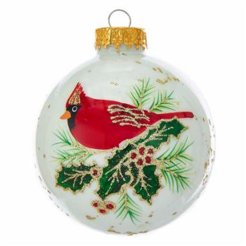 Kurt S. Adler White with Cardinal Ball Ornaments - Set of 6