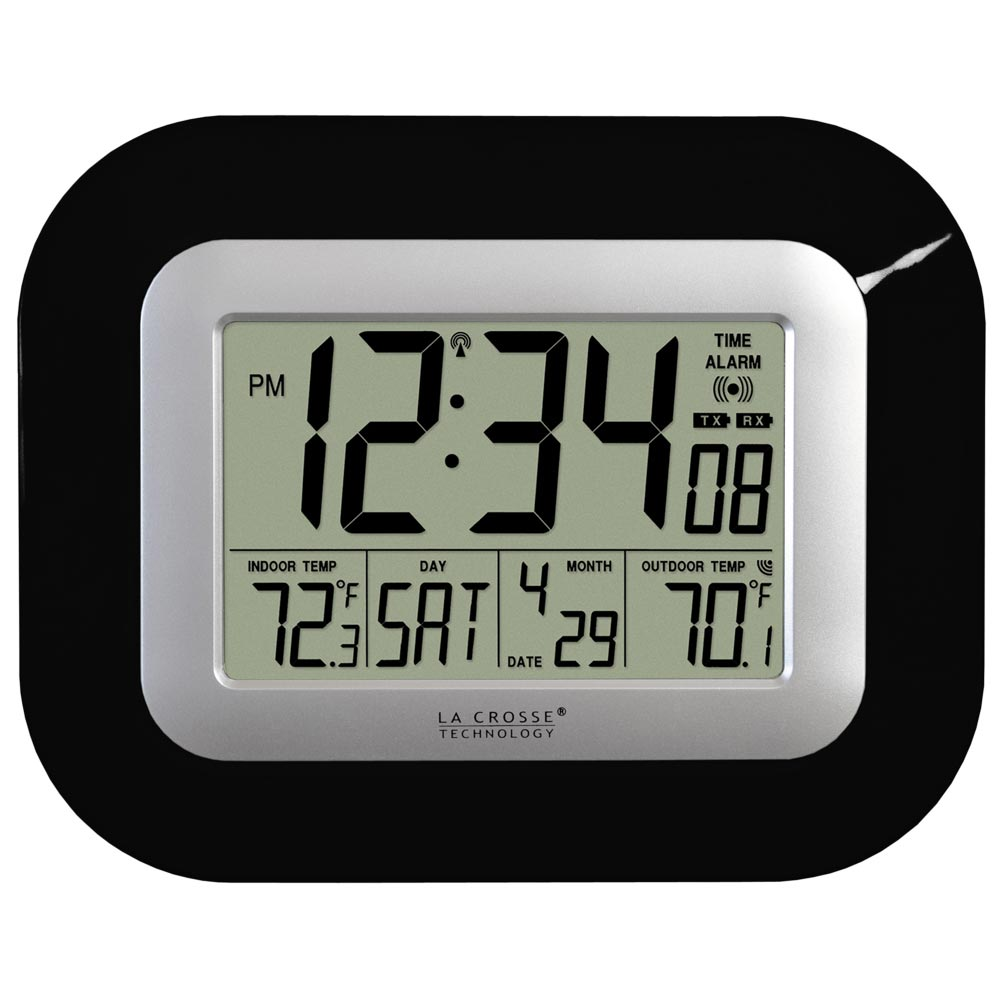 La Crosse Technology Ws 8115u B Atomic Digital Wall Clock With