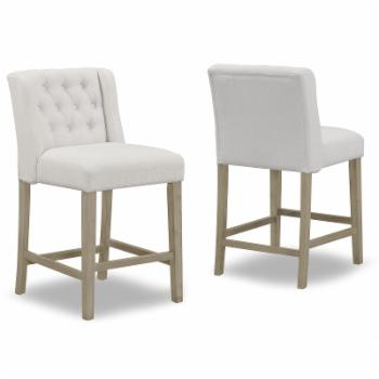 Glamour Home Aled 25 in. Fabric Counter Stool with Side Wings and Tufted Buttons - Set of 2