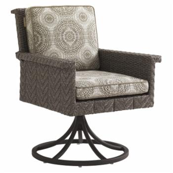 Tommy Bahama Blue Olive Patio Swivel Rocker Dining Chair