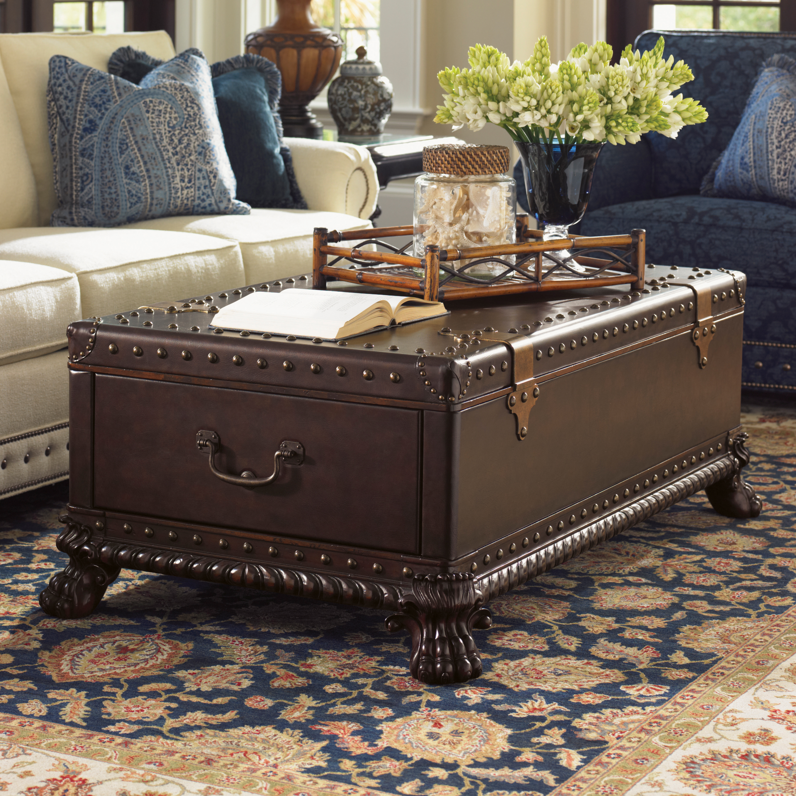Tommy Bahama Island Traditions Harwick Leather Trunk Cocktail Table Hayneedle