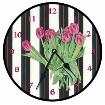 Lexington Studios Pink Tulips Wall Clock