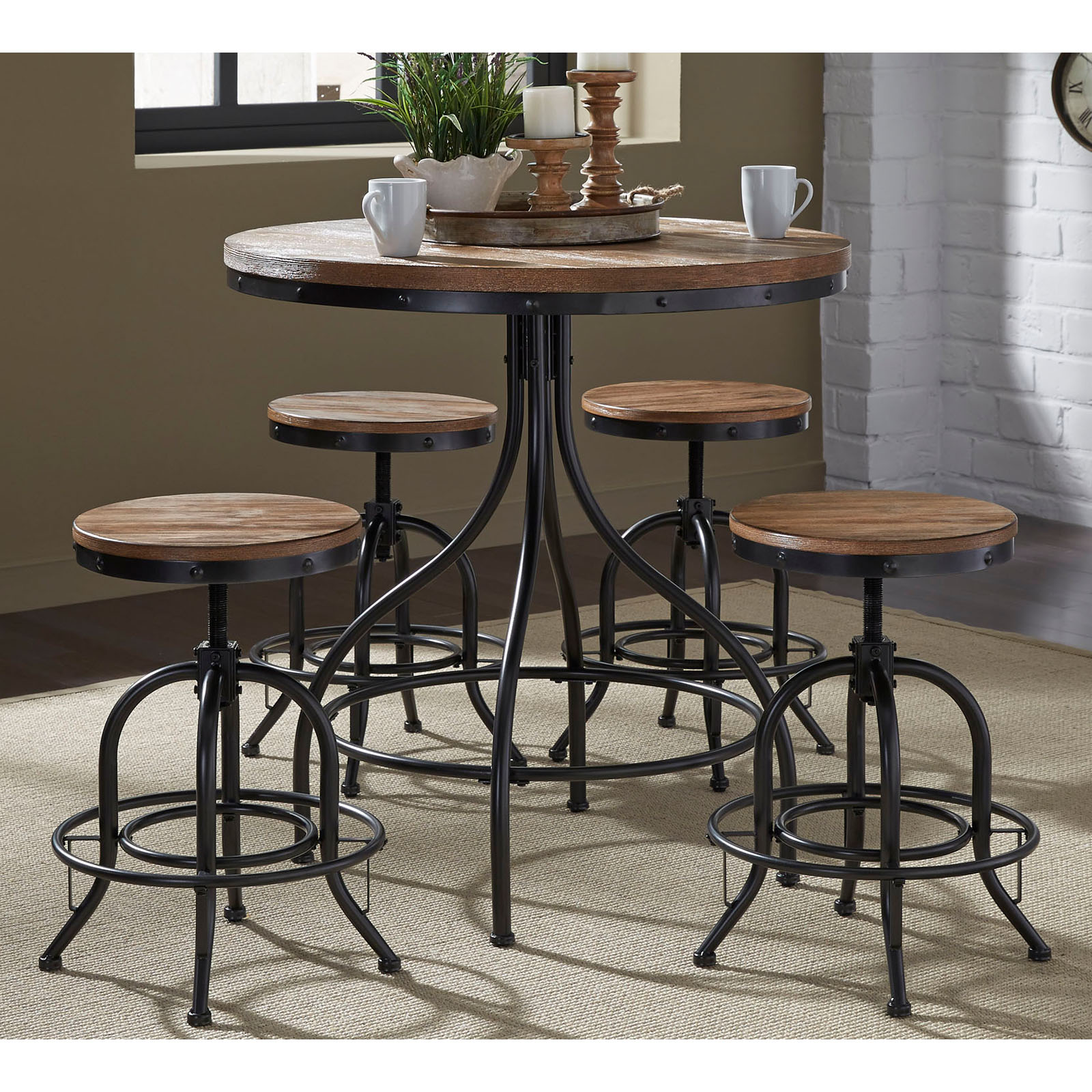 Liberty Furniture Industries Vintage Dining Series 5 Piece Pub Table Set & 5 Piece Pub Table Sets | Hayneedle