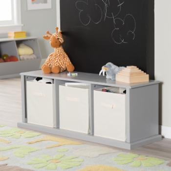 Classic Playtime Hopscotch Storage Bench - Gray
