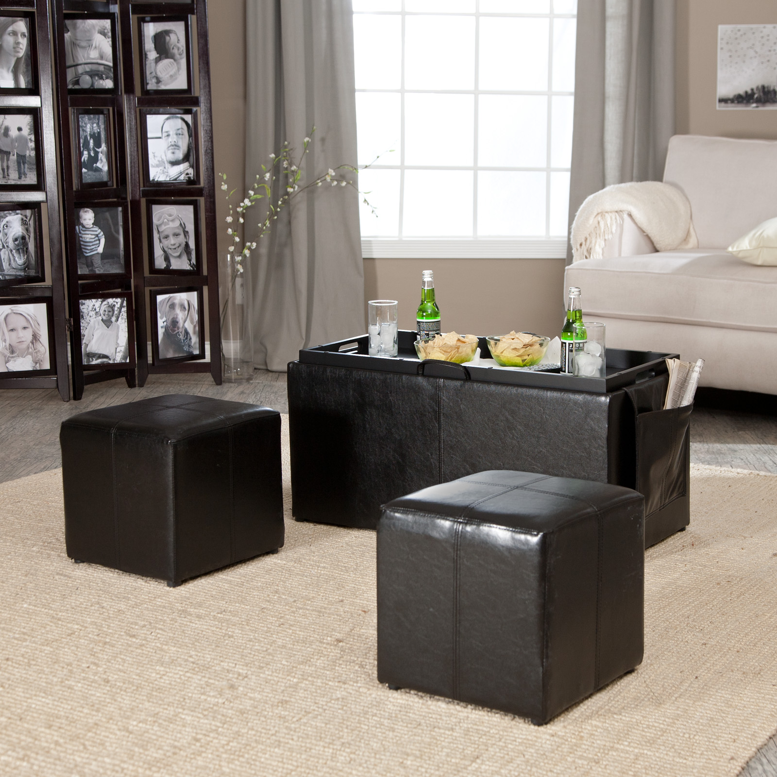 Hartley Coffee Table Storage Ottoman With Tray   Side Ottomans U0026 Side Pocket
