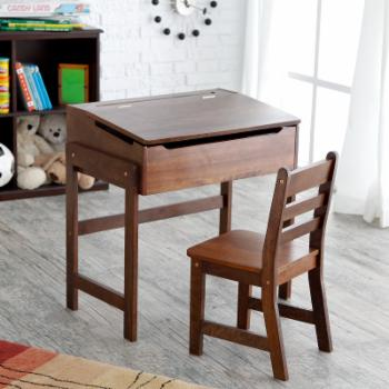 Schoolhouse Desk and Chair Set - Walnut