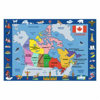 Fun Rugs Fun Time FT-132 Map of Canada Area Rug - Multicolor
