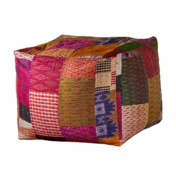 LR Home Multicolored Kantha Pouf