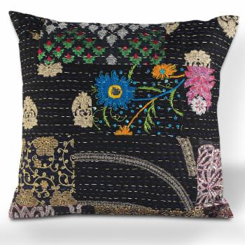LR Home Deep Night Kantha Throw Pillow