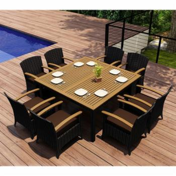 Harmonia Living Arbor 9 Piece Square Dining Set with Arm Chair