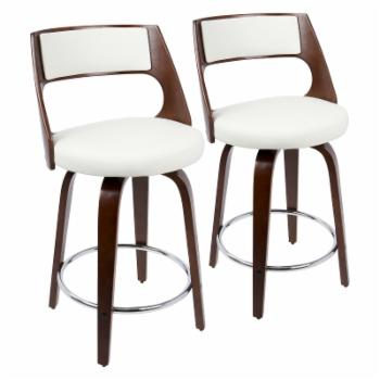 LumiSource Cecina 24 in. Keyhole Swivel Counter Stool - Set of 2