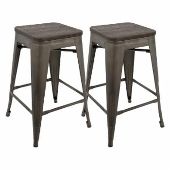 LumiSource Oregon 24.25 in. Counter Stool - Set of 2