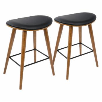 LumiSource Saddle 25.75 in. Mid-Century Modern Counter Stool - Set of 2