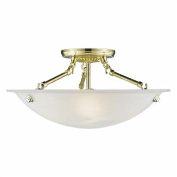 Livex Home Basics 427 Semi Flush Mount - Polished Brass