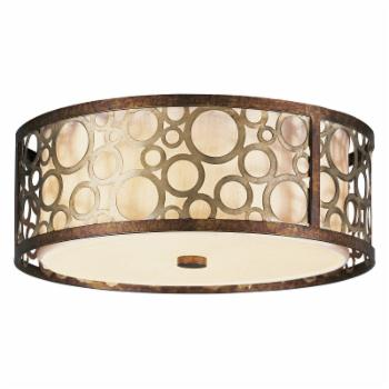 Livex Avalon 8688-64 Flush Mount - Palatial Bronze with Gilded Accents - 14 diam. in.