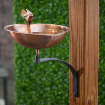 Heart Shaped Bird Bath with Wall Mount Bracket