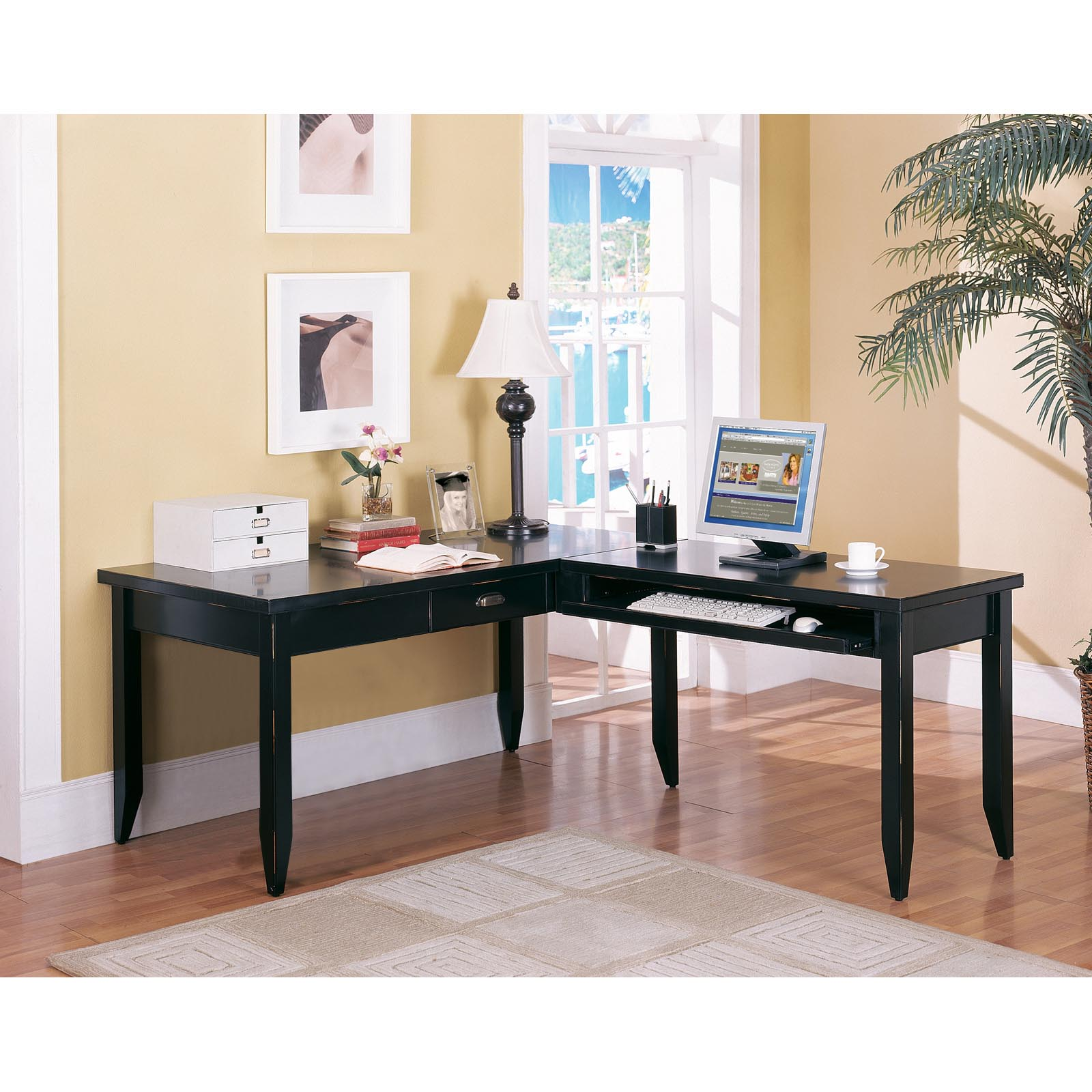 Kathy Ireland Home By Martin Tribeca Loft Black L Shaped Writing Desk