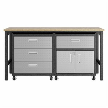 Manhattan Comfort 3-Piece Fortress Mobile Space-Saving Steel 5.0 Garage Cabinet