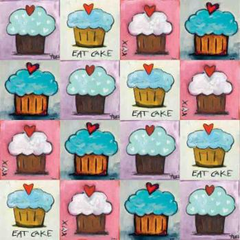 Marmont Hill Cupcake Collage Painting Print on Wrapped Canvas