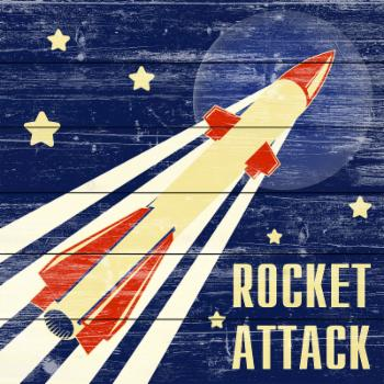 Marmont Hill Rocket Attack Painting Print on White Wood