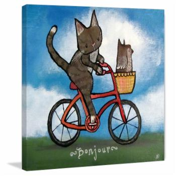 Marmont Hill Bike Riding Cat Wall Art