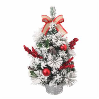ALEKO 2 ft. Christmas Snow Dusted Tabletop Christmas Tree with Burlap Bow