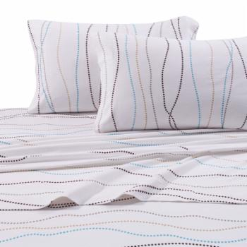 Printed Flannel 4 Piece Sheet Set by Tribeca Living - Dot