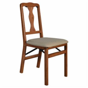 Stakmore Queen Anne Upholstered Folding Chair - Set of 2