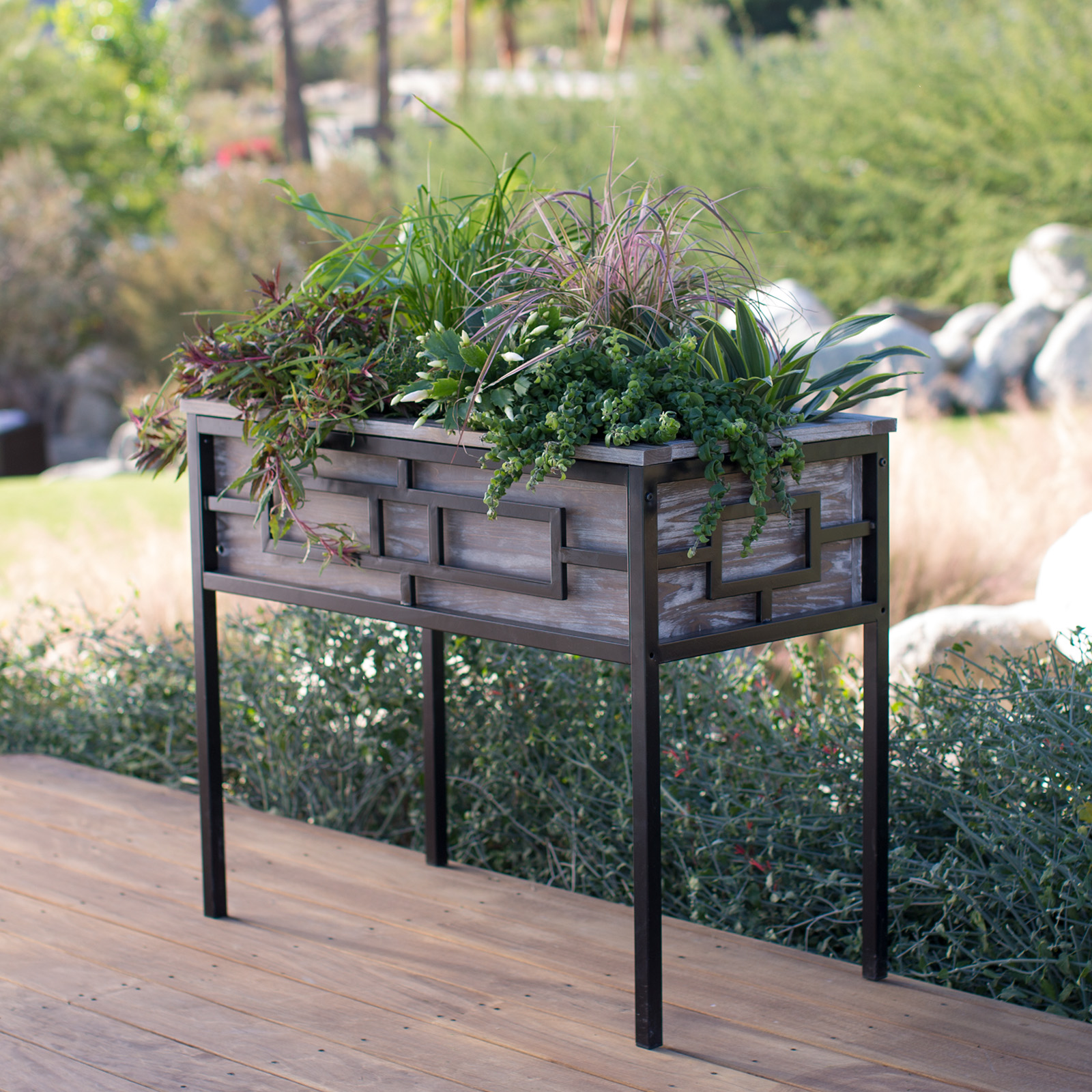 Belham Living Augusta Wood And Metal Raised Planter