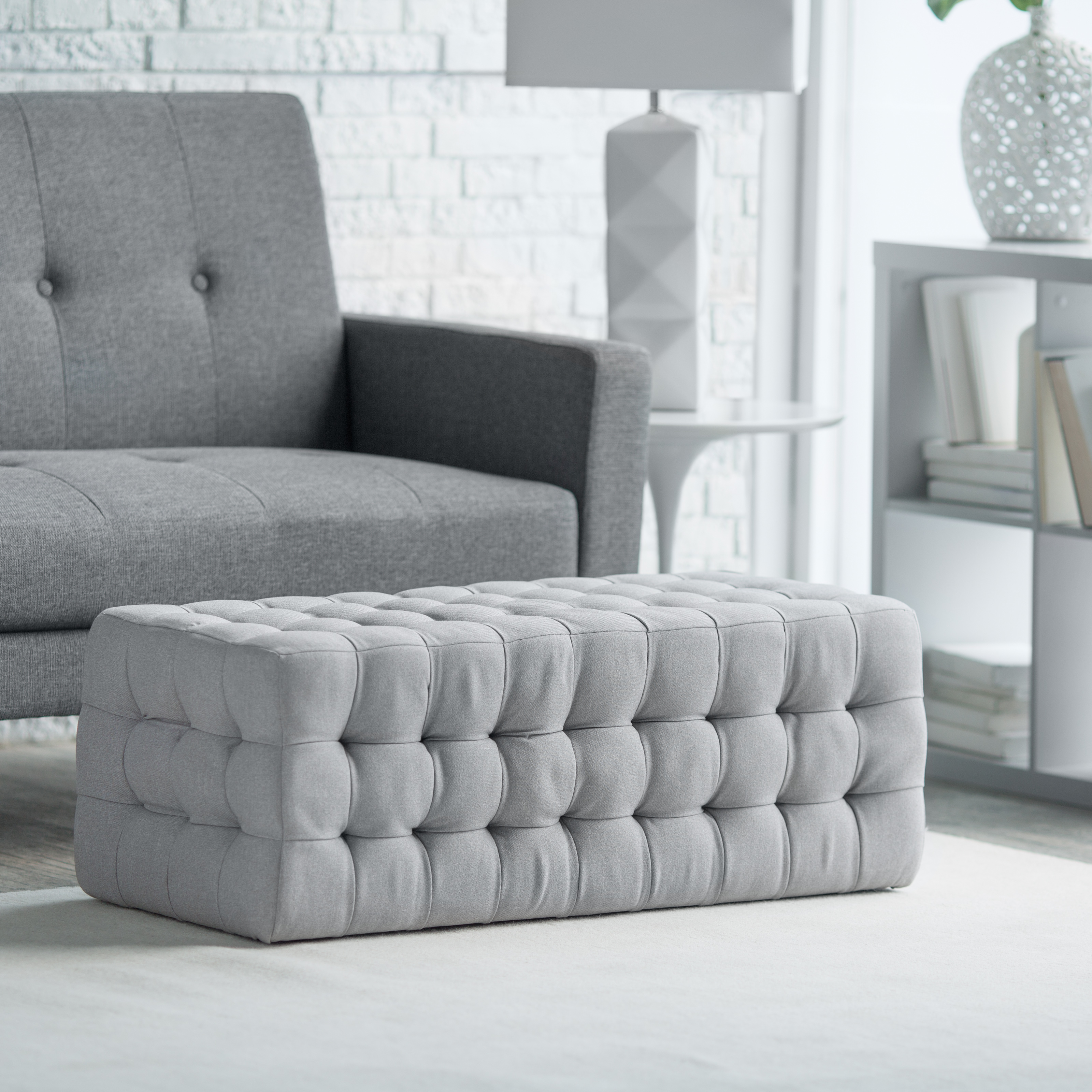 belham living allover tufted rectangle ottoman  grey  hayneedle -