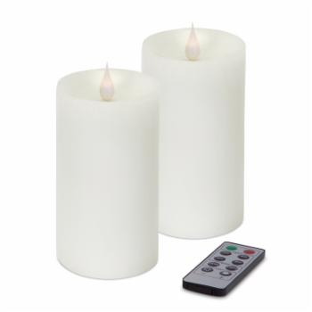 Melrose International Simplux LED Pillar Candle with Moving Flame - Set of 2