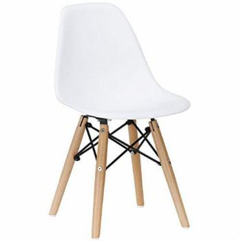 Casa Space Decor Eiffel Solid Back Kids Dining Side Chair with Wood Legs - White