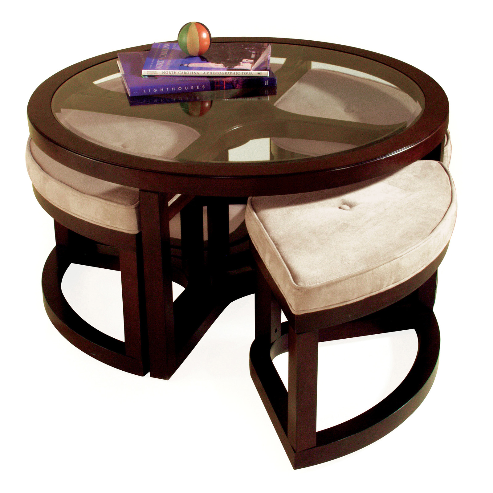 Round Glass Coffee Table With Stools Roselawnlutheran