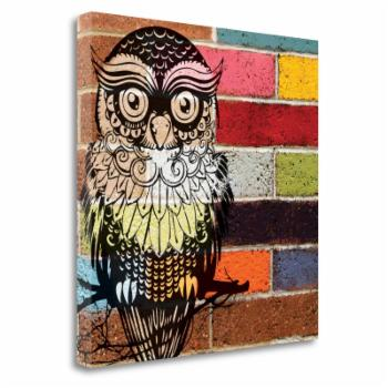Tangletown Fine Art Brick Wall Owl Ready-to-Hang Giclee Print Gallery Wrap Canvas Wall Art by Piper Ballantyne