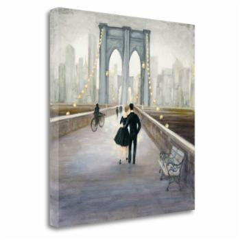 Tangletown Fine Art Bridge To NY v2 Ready-to-Hang Giclee Print Gallery Wrap Canvas Wall Art by Julia Purinton