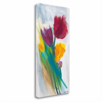 Tangletown Fine Art Bright Tulip Bunch II Ready-to-Hang Giclee Print Gallery Wrap Canvas Wall Art by Karen Lorena Parker