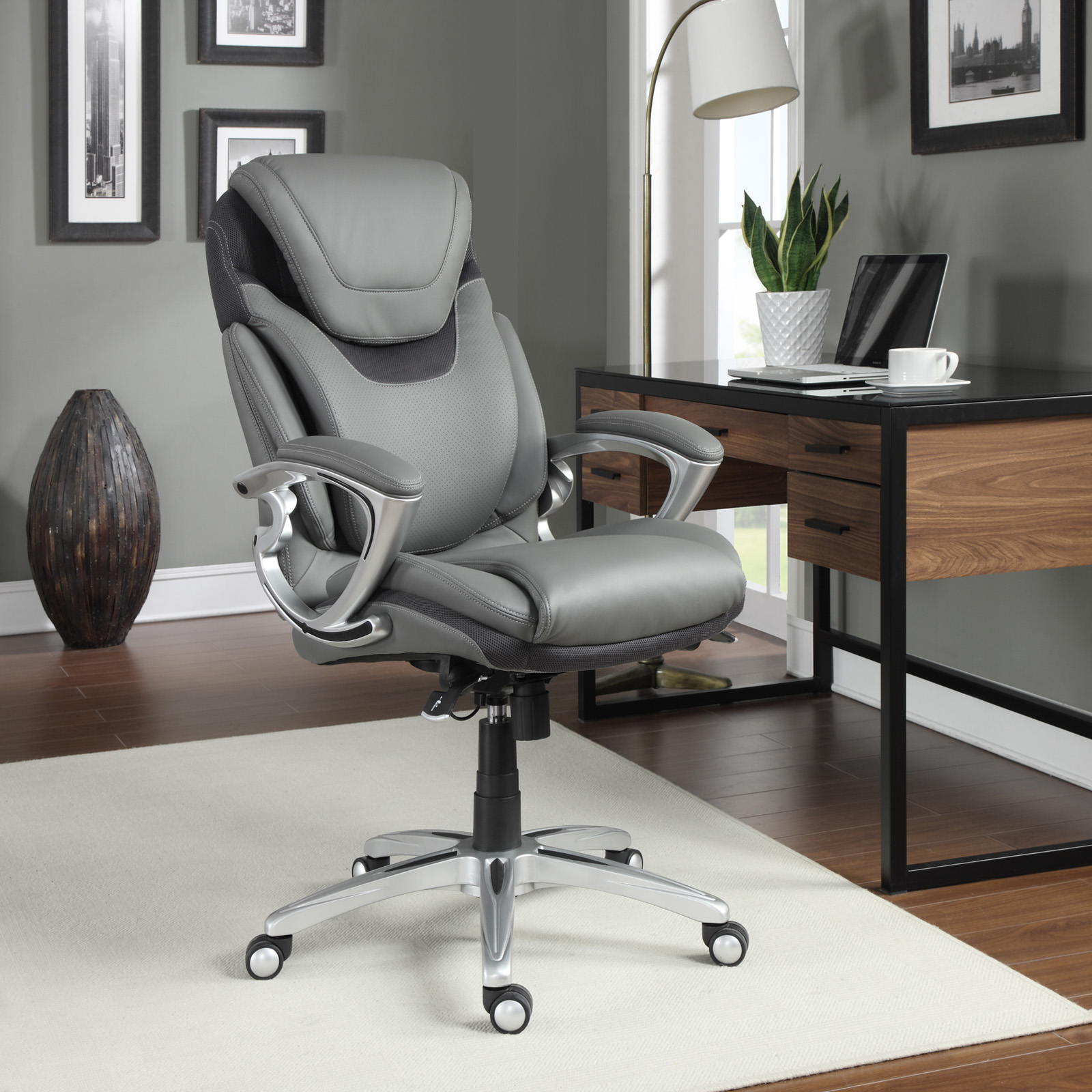 Serta Air Health Wellness Eco Friendly Bonded Leather Executive Office Chair Hayneedle