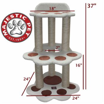 Majestic Pet Products 37 in. Bungalow Sherpa Cat Tree - White