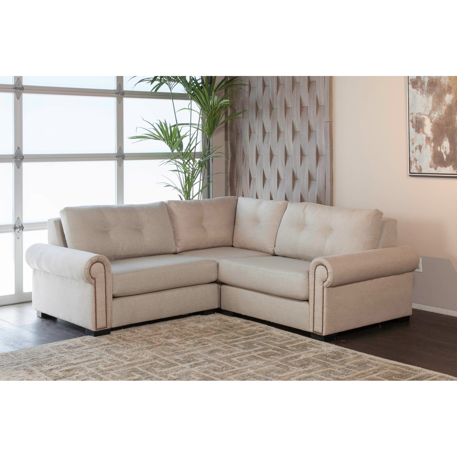 South Cone Chelsea Button Tufted Modular Right And Left Arms L Shape Mini  Sectional