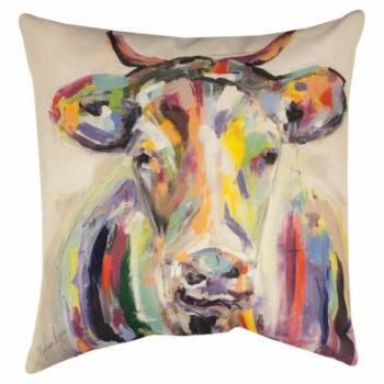 Manual Artsy Cow Decorative Pillow