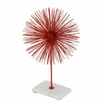 Modern Day Accents Erizo Spiked Red Sphere on Base Sculpture