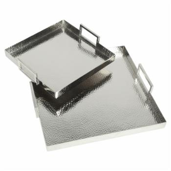 Moes Home Collection Hammered Square Trays - Set of 2