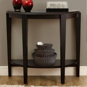 Monarch Specialties Wood Crescent Console Table With Shelf