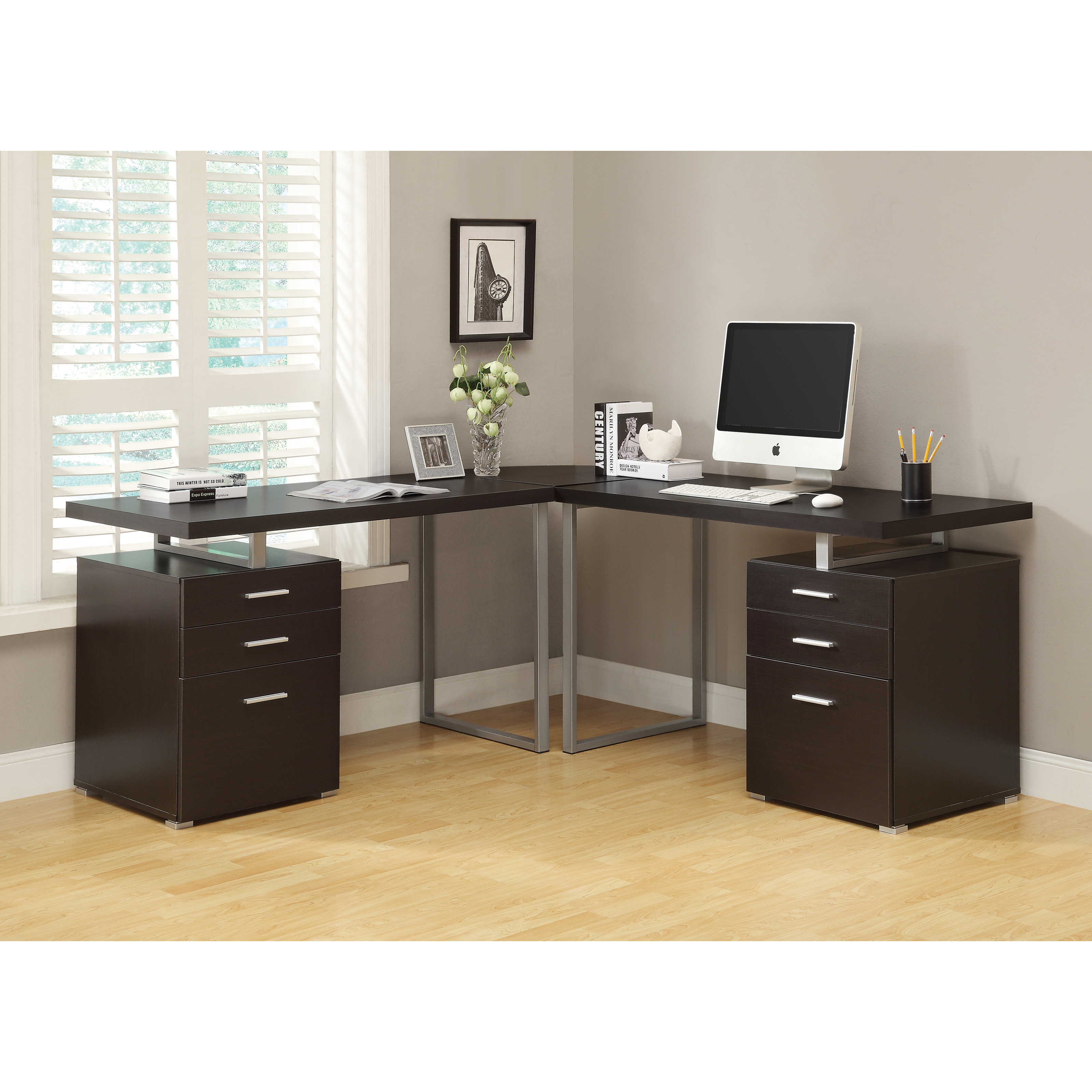 Monarch Hollow Core Left Or Right Facing 48 In Desk Cappuccino Hayneedle