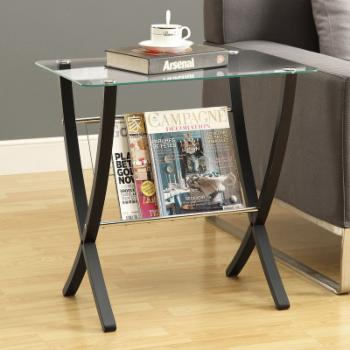 Monarch Bentwood Magazine Table with Tempered Glass Top - Cappuccino